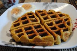 Pumpkin Waffle & Hard Boiled Egg